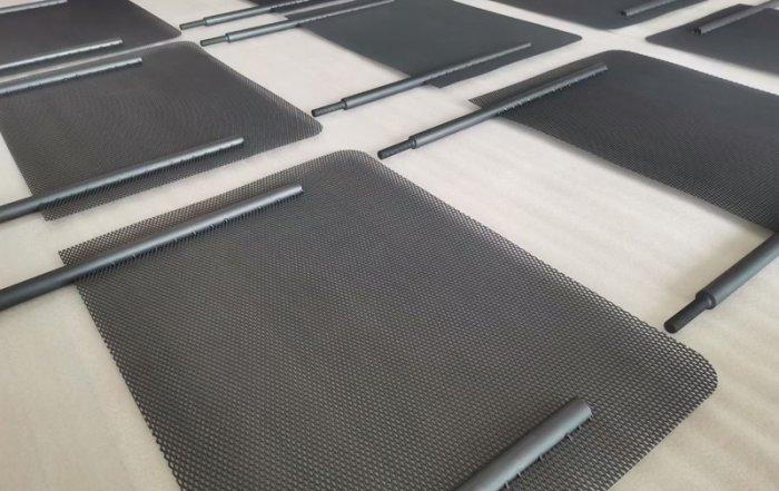 Titanium anode mesh with Ru-Ir coating